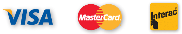 Carte de credit : Visa, mastercard, interac